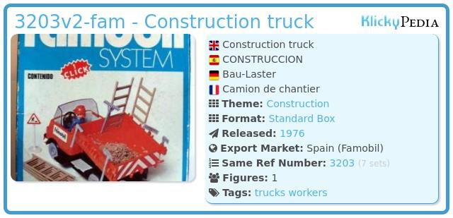 Playmobil 3203v2-fam - Construction truck