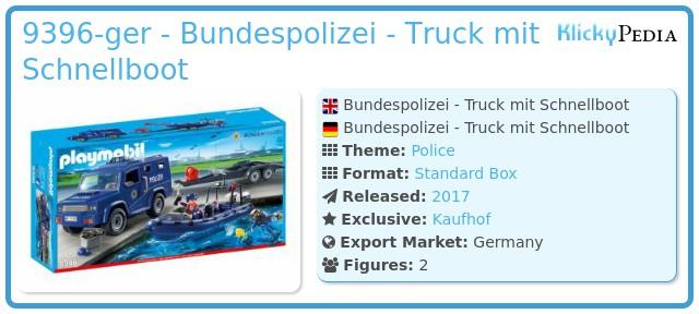 Playmobil 9396-ger - Bundespolizei - Truck mit Schnellboot