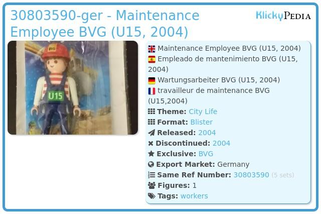 Playmobil 30803590-ger - Maintenance Employee BVG (U15, 2004)