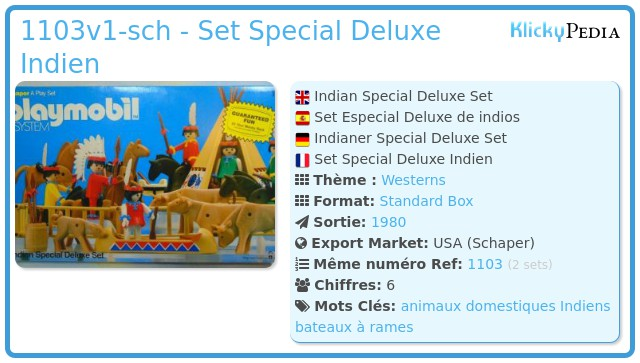 Playmobil 1103v1-sch - Set Special Deluxe Indien
