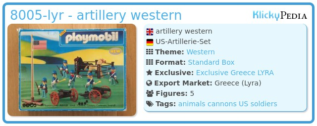 Playmobil 8005-lyr - artillery western