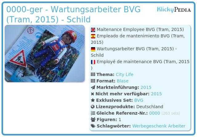 Playmobil 0000-ger - Wartungsarbeiter BVG (Tram, 2015) - Schild