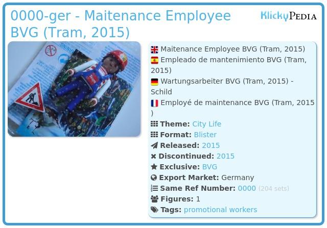 Playmobil 0000-ger - Maitenance Employee BVG (Tram, 2015)