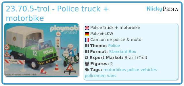 Playmobil 23.70.5-trol - Police truck + motorbike