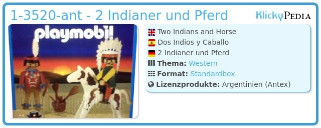 Playmobil 1-3520-ant - 2 Indianer und Pferd