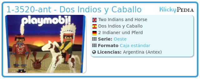 Playmobil 1-3520-ant - Two Indians and Horse