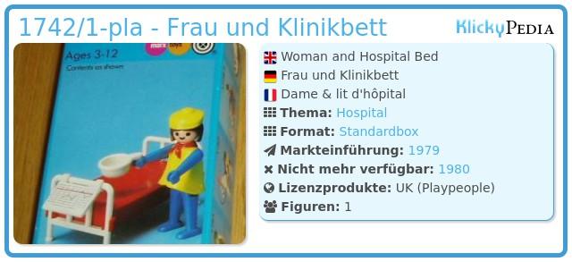 Playmobil 1742/1-pla - Frau und Klinikbett