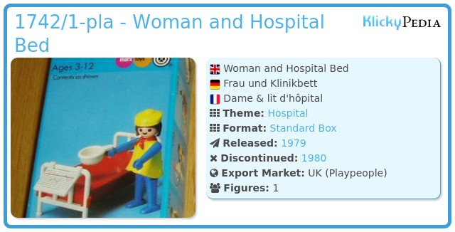 Playmobil 1742/1-pla - Woman and Hospital Bed