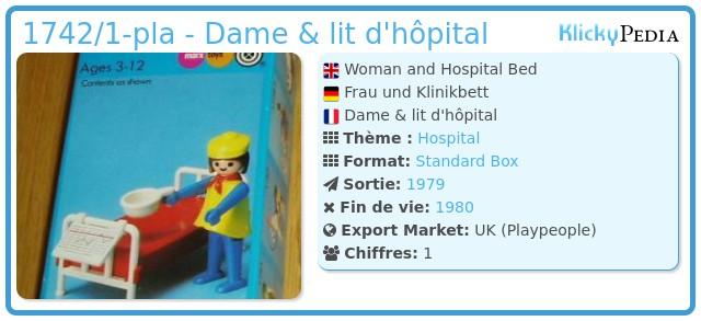 Playmobil 1742/1-pla - Dame & lit d'hôpital