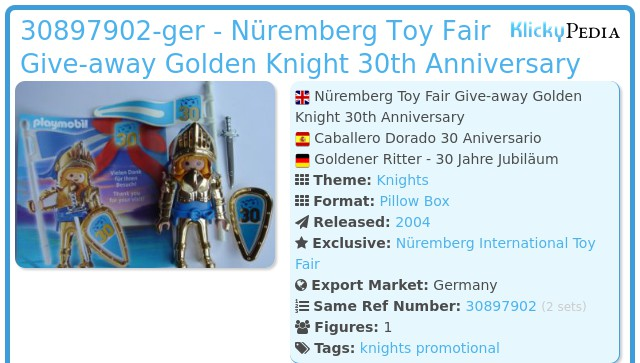Playmobil 0000v9-ger - Nüremberg Toy Fair Give-away Golden Knight 30th Anniversary