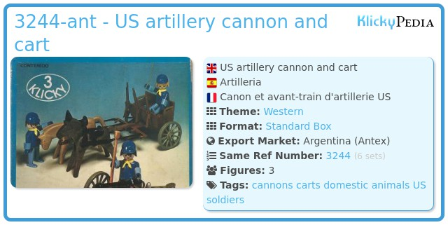 Playmobil 3244-ant - US artillery cannon and cart