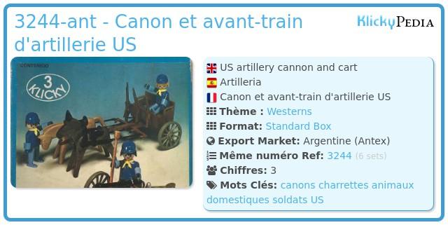 Playmobil 3244-ant - Canon et avant-train d'artillerie US