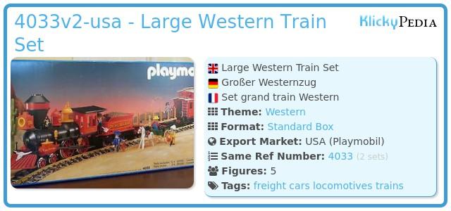 Playmobil 4033v2-usa - Large Western Train Set