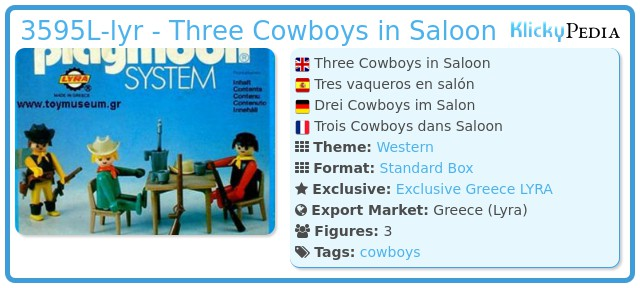 Playmobil 3595L-lyr - Three Cowboys in Saloon