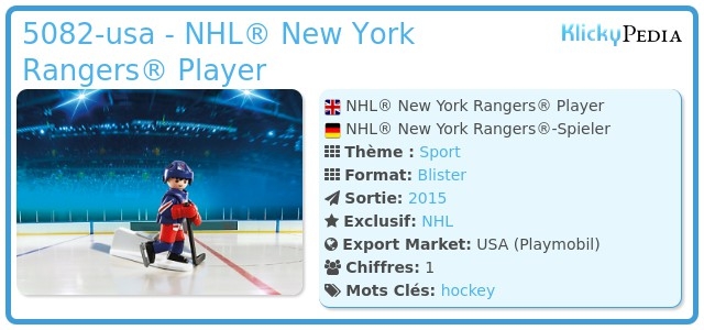 Playmobil 5082-usa - NHL® New York Rangers® Player