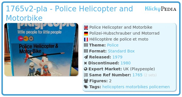 Playmobil 1765v2-pla - Police Helicopter and Motorbike