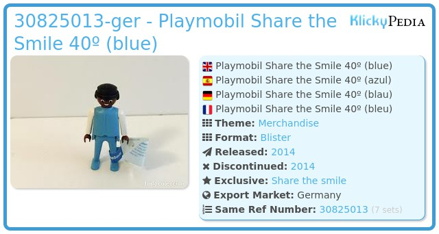 Playmobil 30825013-ger - Playmobil Share the Smile 40º (blue)