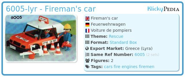 Playmobil 6005-lyr - Fireman's car