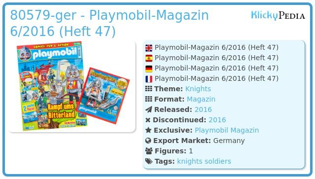 Playmobil 80579-ger - PLAYMOBIL-Magazin 6/2016 (Heft 47)