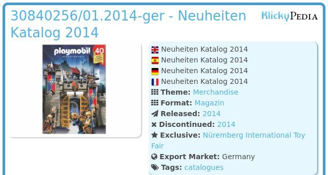 Playmobil 30840256/01.2014-ger - Neuheiten Katalog 2014