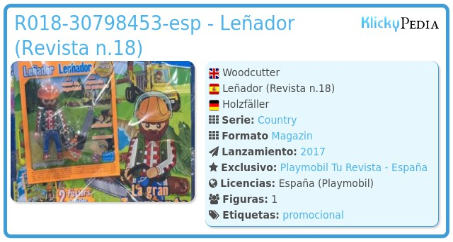 Playmobil R018-30798453-esp - Leñador (Revista n.18)