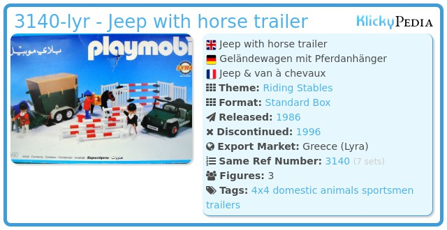 Playmobil 3140-lyr - Jeep with horse trailer