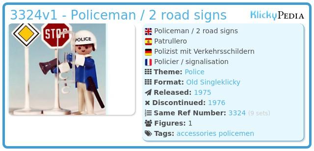 Playmobil 3324v1 - Policeman / 2 road signs