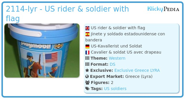 Playmobil 2114-lyr - US rider & soldier with flag