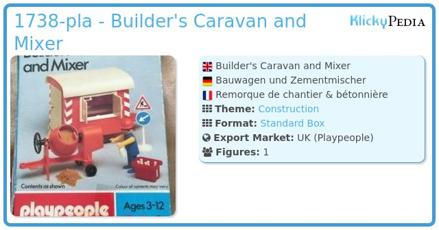 Playmobil 1738-pla - Builder's Caravan and Mixer