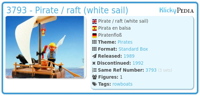 Playmobil 3793 - pirate / raft (white sail)