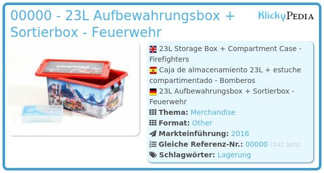 Playmobil 00000 - 23L Aufbewahrungsbox + Sortierbox - Feuerwehr