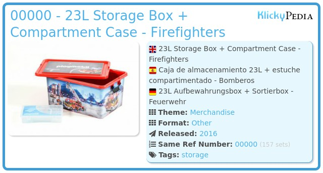 Playmobil 00000 - 23L Storage Box + Compartment Case - Firefighters
