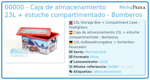 Playmobil 00000 - Caja de almacenamiento 23L + estuche compartimentado - Bomberos