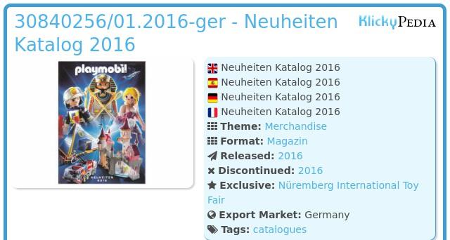 Playmobil 30840256/01.2016-ger - Neuheiten Katalog 2016
