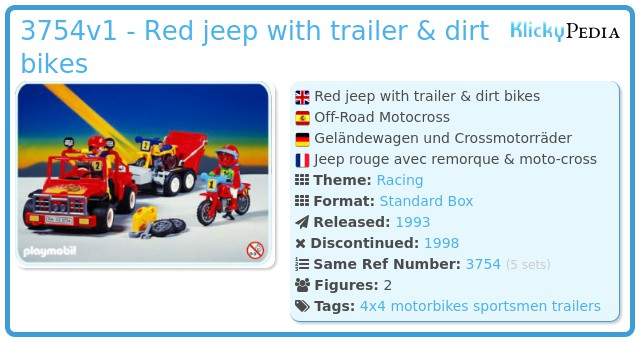 Playmobil 3754v1 - Red jeep with trailer & dirt bikes