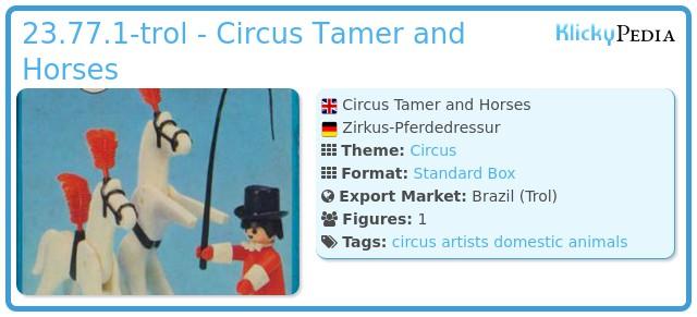 Playmobil 23.77.1-trol - Circus Tamer and Horses