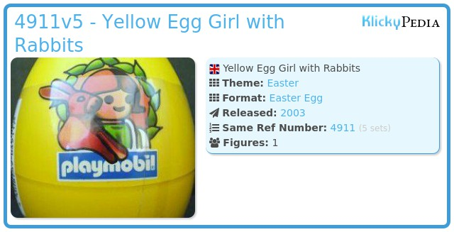 Playmobil 4911v5 - Yellow Egg Girl with Rabbits