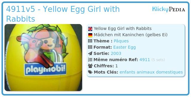 Playmobil 4911v5 - Yellow Egg Girl with Rabbits