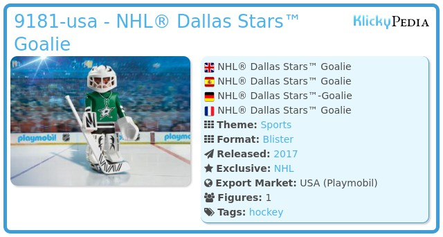 Playmobil 9181-usa - NHL® Dallas Stars™ Goalie