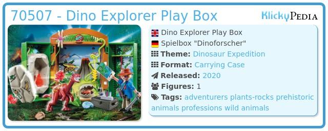 Playmobil 70507 - Dino Explorer Play Box