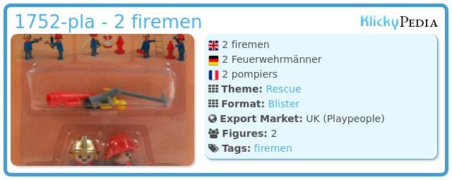 Playmobil 1752-pla - 2 firemen