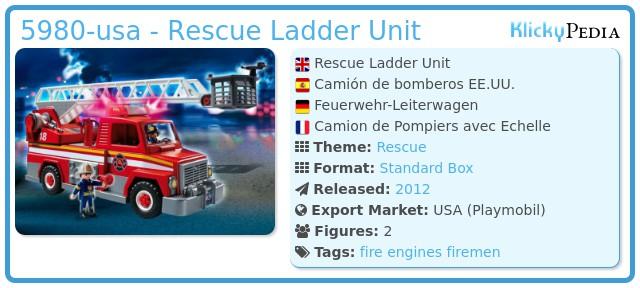 Playmobil 5980-usa - Rescue Ladder Unit