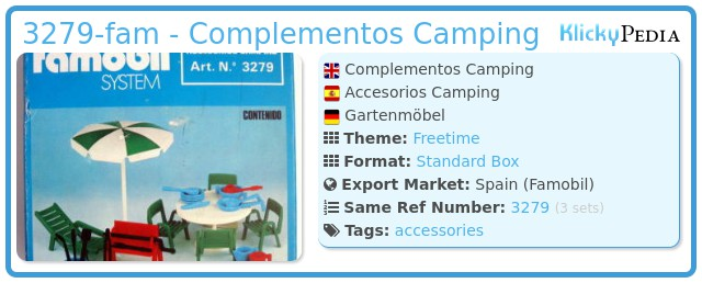 Playmobil 3279-fam - Complementos Camping