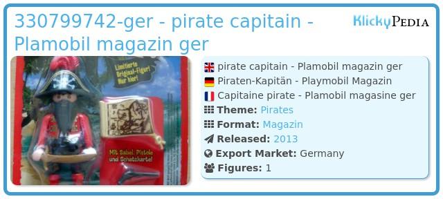 Playmobil 330799742-ger - pirate capitain - Plamobil magazin ger
