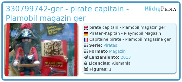 Playmobil 330799742-ger - pirate capitain - Plamobil magazin ger