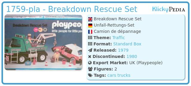 Playmobil 1759-pla - Breakdown Rescue Set