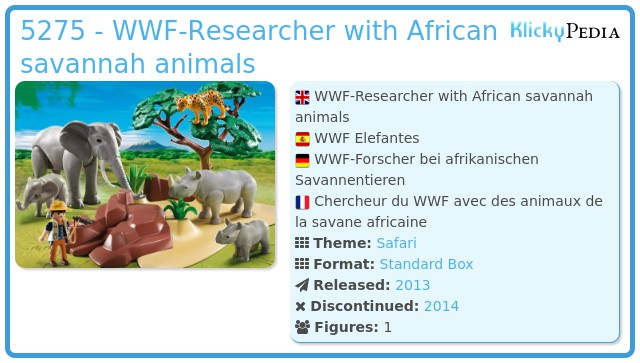 Playmobil 5275 - WWF-Researcher with African savannah animals
