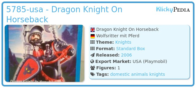 Playmobil 5785-usa - Dragon Knight On Horseback