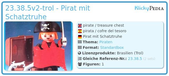 Playmobil 23.38.5v2-trol - Pirat mit Schatztruhe