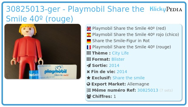 Playmobil 30825013-ger - Playmobil Share the Smile 40º (rouge)